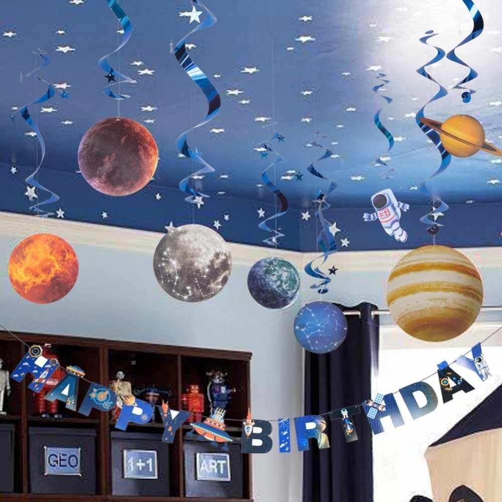Space Theme Kids Birthday Decorations With Happy Banner Hanging Swirls Cake Topper Planet Pattern Children