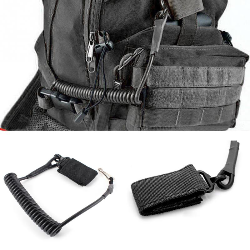 Elastic-Belt Bag-Rope Lanyard-Gun Backpack Coil-Sling Pistol-Tool Spring-Strap Shooting