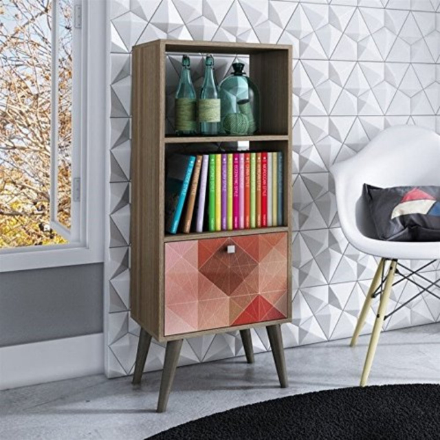 Sophisticated Sami Double Bookcase with 2 Open Shelves and 1- Drawer & Coloful Door