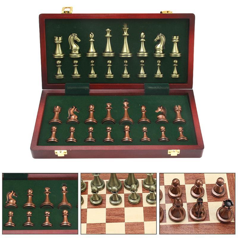 International D'échecs de Zinc Alliage Concurrentiel Puzzle Jeu Pliable Conseil Ensemble En Plein Air Accessoires De Jeu Bord Intellectuelle