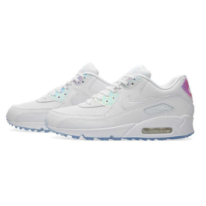 Autêntica Nike AIR MAX 90 PREMIUM Running Shoes Respirável Sneakers Formadores das Mulheres Nova Chegada 443817-104