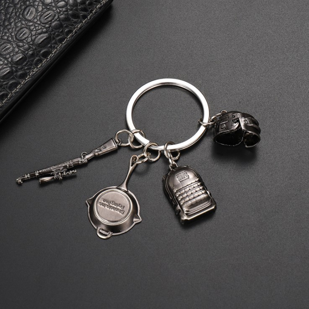 Game PUBG Level 3 Helmet Backpack Saucepan Keychain Playerunknown Battlefield Cosplay Props in Key Chains from Jewelry Accessories