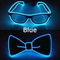 Gran oferta EL producto gafas de alambre + EL arco de lazo que brillan suministros de fiesta LED ilumina la decoración DJ Club nocturno adornos para disfraces