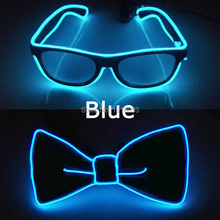 Hot sales EL Product Wire Glasses + Bow Tie Glow Party Supplies LED Light up Decoration DJ Night Club Costume Decorations