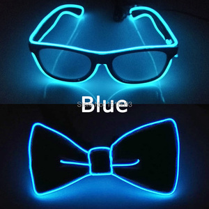 Hot sales EL Product EL Wire Glasses + EL Bow Tie Glow Party Supplies LED Light up Decoration DJ Night Club Costume Decorations
