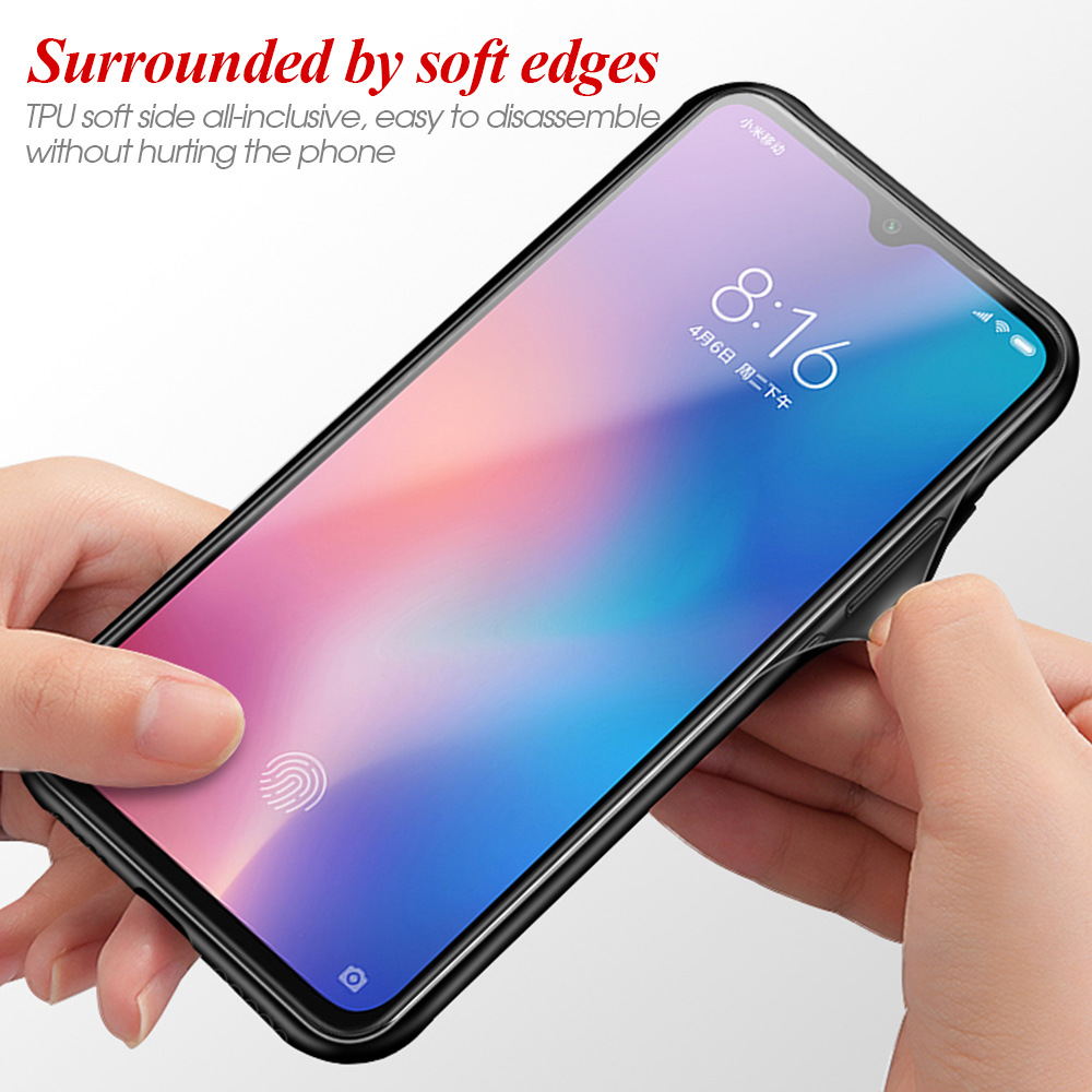 Image 2 - TPU soft edge Gradient glass back phone case for xiaomi 6 mi9 Pocophone F1 9T protective case