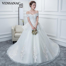 VENSANAC V Neck Lace Flowers Appliques 2018 Ball Gown Wedding Dresses Pearls Court Train Backless Bridal Gowns
