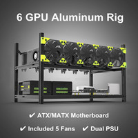 Professional 6GPU Aluminum Miner Frame Rig Stackable Open Air Mining Case 5 Fans Computer Components Dual Power Supply Kit Set