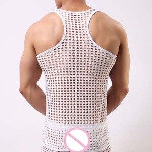 Männer Tank Tops Mesh Sehen-durch Fishnet Bodybuilding Weste Mode Sexy Oansatz Ärmellosen Unterhemd Tops Tees