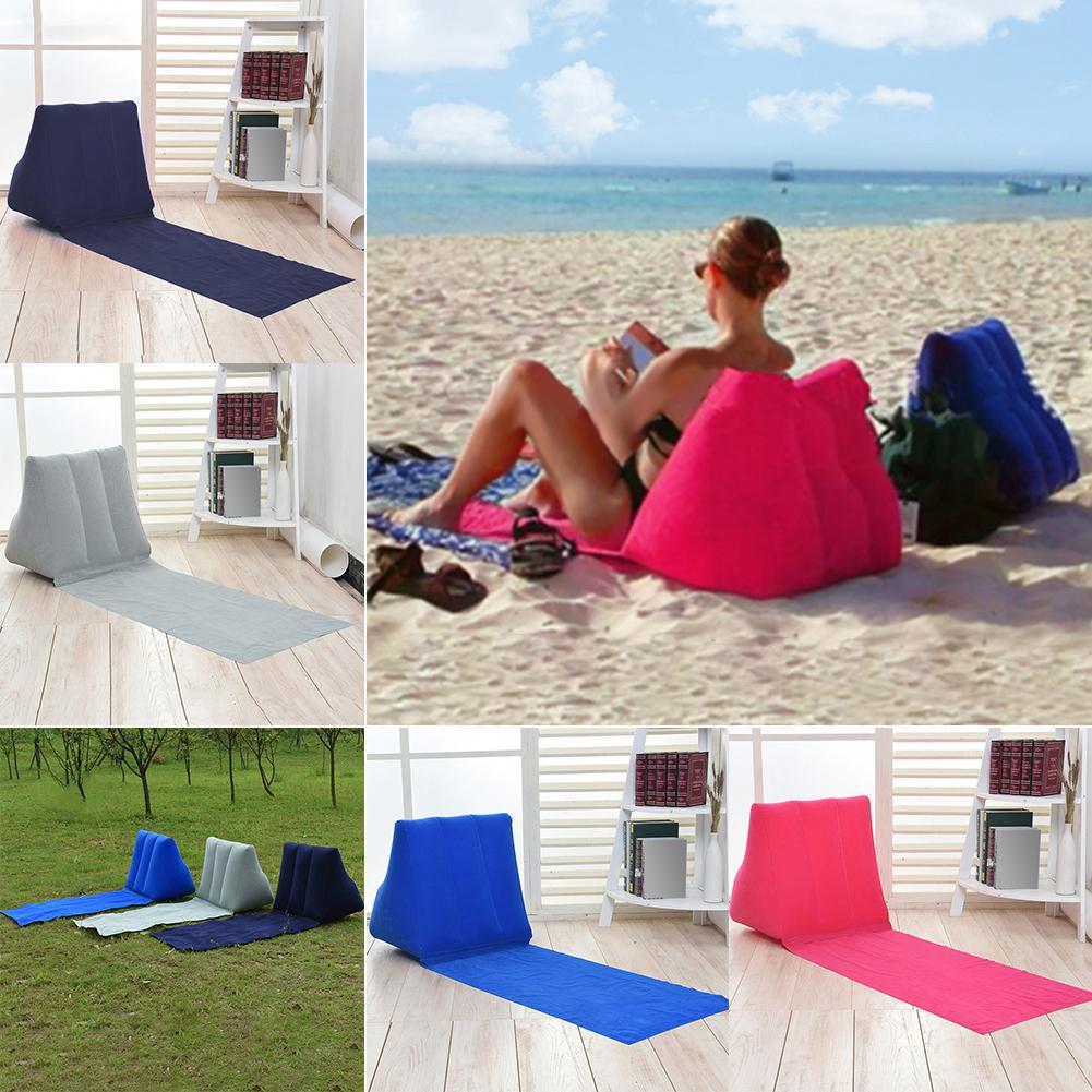 Cool Inflatable Beach Mat Festival Camping Leisure Lounger Back Pillow Cushion Chair