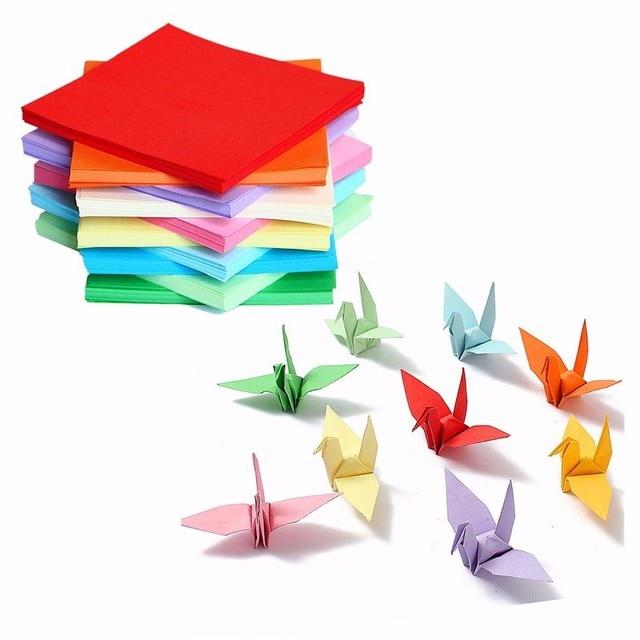 KiWarm 200 520 pcs Folhas Origami Papel Dobrado Dupla Face Colorido Praça de Artesanato Assorted DIY Papercraft Ferramentas Multi Tamanho