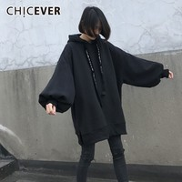 CHICEVER 2018 Autumn Women's Hoodies Sweatshirt Tops Female Lantern Sleeve Loose Oversize Hem Split Black Pullover Fashion Tide