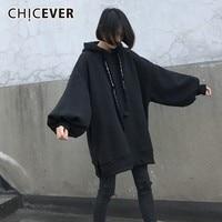 CHICEVER 2018 Autumn Women's Hoodies Sweatshirt Tops Female Lantern Sleeve Loose Oversize Hem Split Black Pullover Fashion Tide