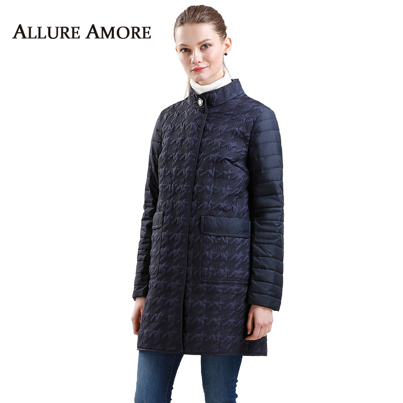 Spring   Parkas   New female Stand-up Collar Houndstooth Coat Women Warm Long Jackets Down Cotton Padded Jacket Woman Allure Amore