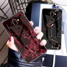 Marble Pattern Tempered Glass Case For Oneplus 7 Pro Soft TPU Frame+Anti-scratch Back Cover One Plus Slim
