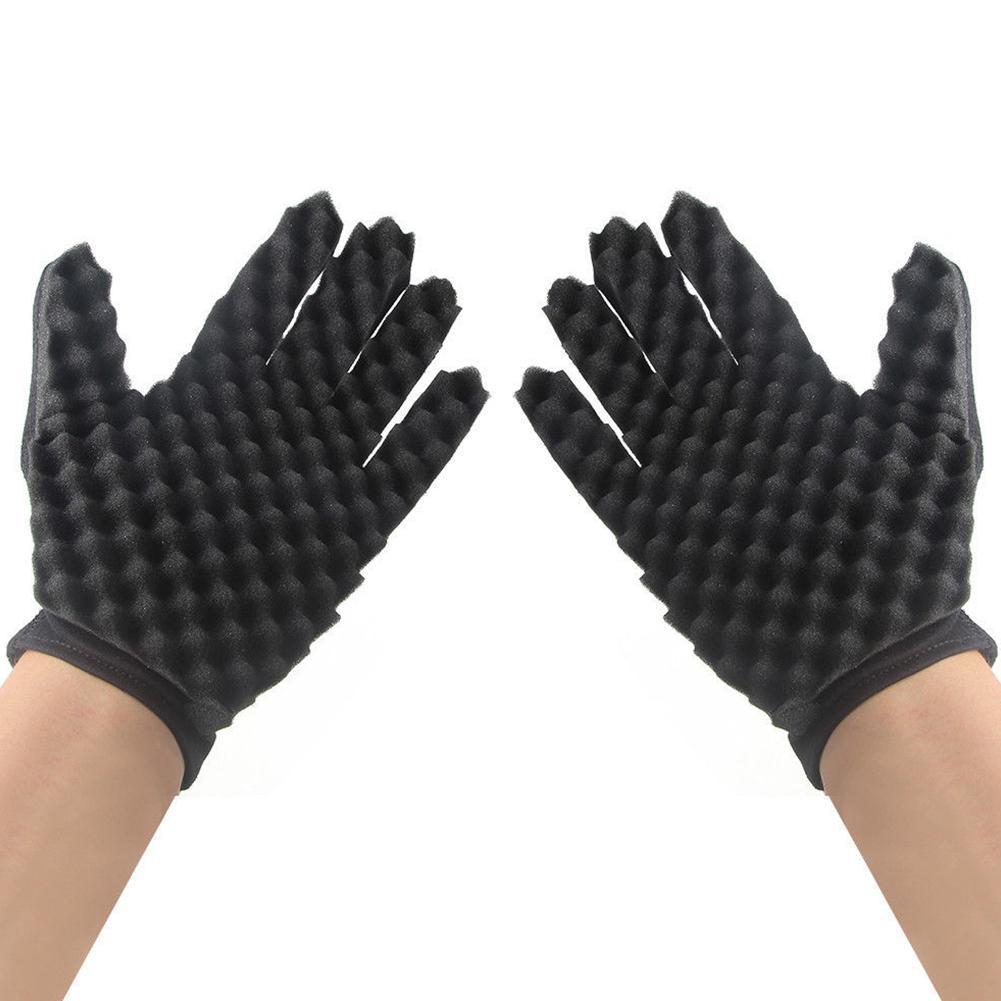 BellyLady Curling Mold Curly Hair Gloves Wave Barber Hair Brush Sponge Gloves