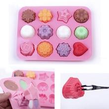 Molde de silicone para confeitaria de bolo, forma de sabão, suprimentos 3d para chocolate, bandeja com 12 buracos, ferramenta para preparação de doces, faça você mesmo molde do molde