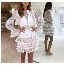 цена на Spring 2019 Hollow Out Women Print Dress Fashion High Waist Ruffles Dress Flae Sleeve Mini Dresses
