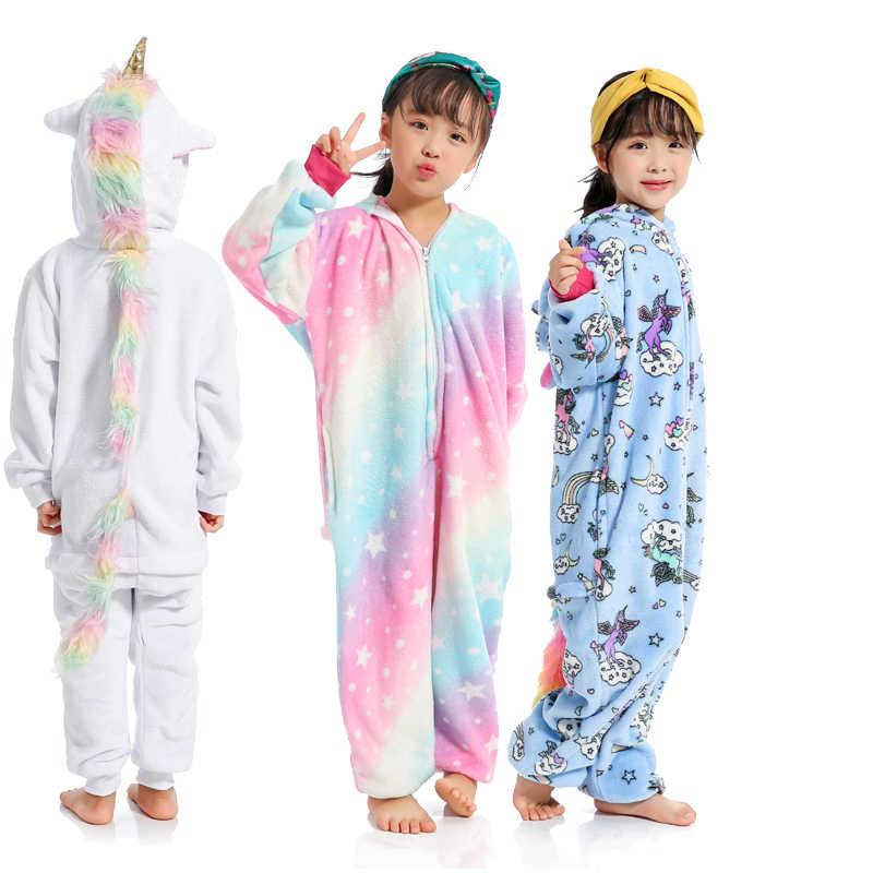 Детские пижамы для мальчиков и девочек Фланелевая Пижама животных стежка  единорог 4083c017ce2a1