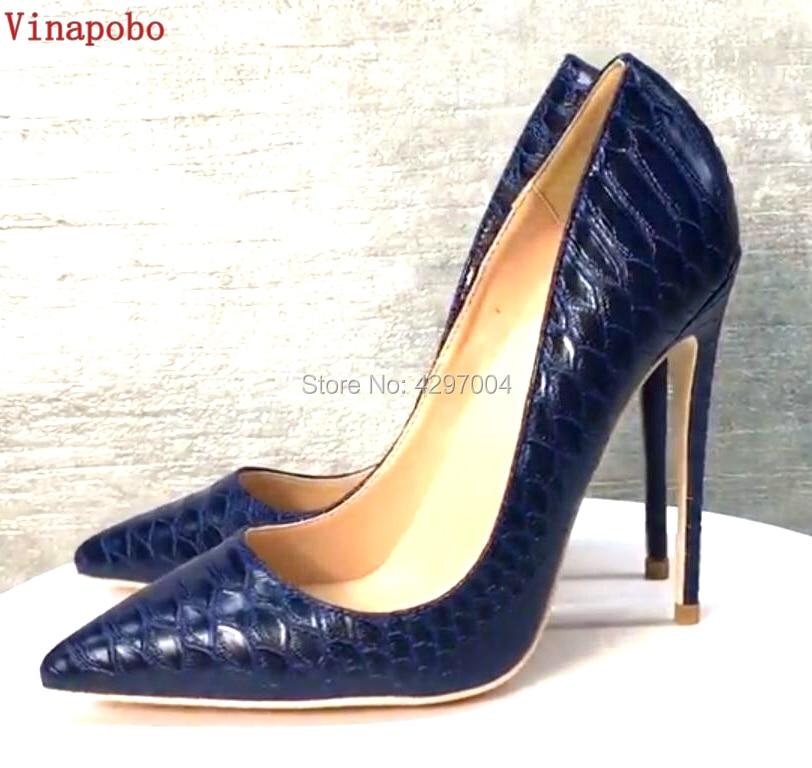 Vinapobo Sexy Women Snake Print High Heel wedding Shoes Italian Style Navy Blue Fashion Ladies Extremely