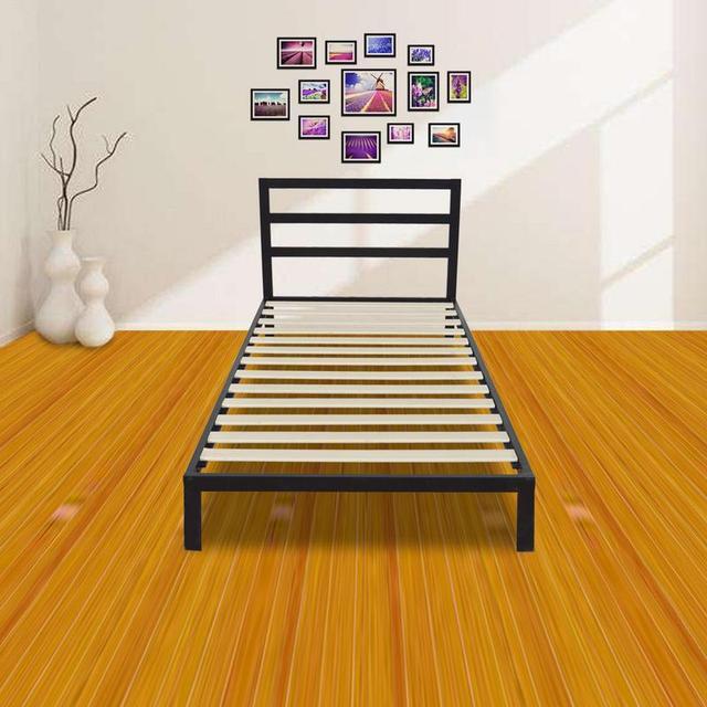 Modern Full Size Metal Bed Frame Wood Slats Mattress Square Horizontal Bar Head Of Iron Twin Foundation Black