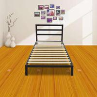 Modern Full Size Metal Bed Frame Wood Slats Mattress Square Horizontal Bar Head Of Bed Iron Bed Twin Size Foundation Black