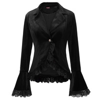 Retro Punk Rave Gothic Women Velvet Lace Ruffle Jacket Steampunk Victorian Coat