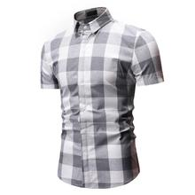Plaid Mens Shirt Casual Wedding Dress Light gray Red Summer Camisetas Check Blouse Men Short sleeve Slim Fashion