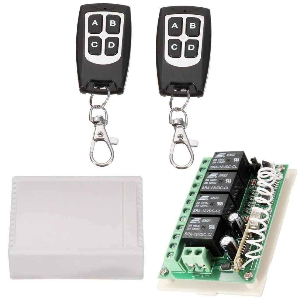 لاسلكي للتحكم عن بعد RF التبديل 433mhz تيار مستمر 12V 4CH 4 قناة لاسلكية للتحكم عن بعد التبديل التتابع وحدة الاستقبال الارسال