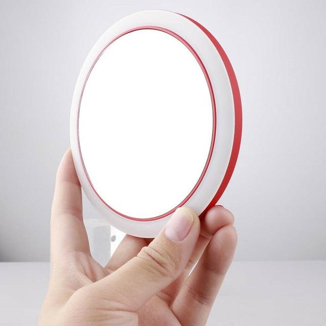 Portable LED Lighted Mini Circular Makeup Mirror Compact Travel Sensing Lighting Cosmetic Mirror Wireless USB Charging 5