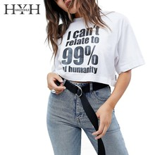 HYH Haoyihui 2019 Summer New Pure Color Simple Commuter Contrast Letter Print Short T-Shirt