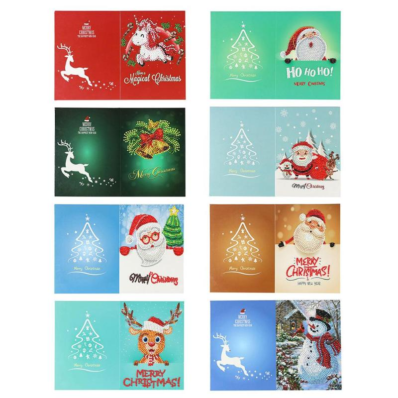 4/8pcs 5D Diamond Painting Set DIY Christmas Greeting Cards New Year Xmas Gift Small Santa Claus Snowman Festival Greet Cards