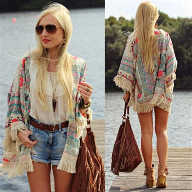 Women  Fringe Floral Pattern Kimono Cardigan Tassels Ladies Bohemian Beach Romantic Short Cover Up Cape Jacket Batwing Sleeve