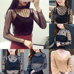 Для женщин кружевные блузки рубашка на лето и весну женские топы Sexy сетчатая Блузка Прозрачная с длинным рукавом в черный горошек Star
