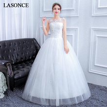 LASONCE Lace Flowers Appliques Ball Gown Wedding Dresses Illusion Crystal O Neck Sequined Backless Bridal Dress