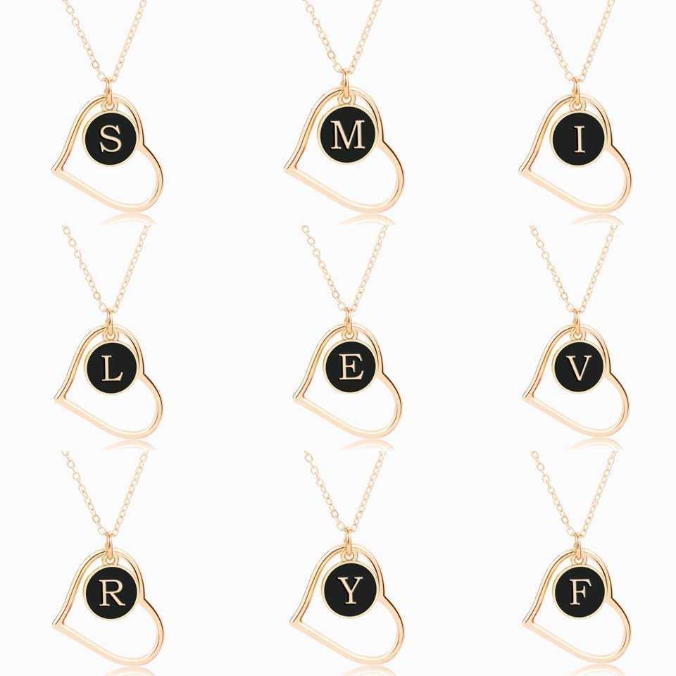 Персонализировать название золотого буква инициалы A-Z Цепочки и ожерелья для Для женщин корейские туфли-лодочки, цвета: черный, круглой формы в форме сердца полые ожерелья и подвески ювелирные изделия Gif