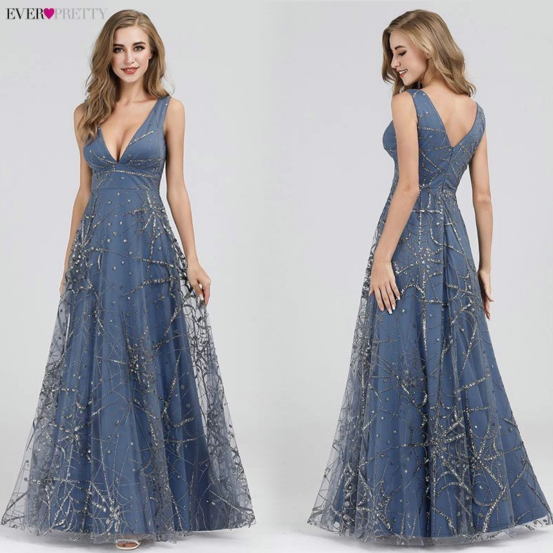 Sexy Prom Dresses Ever Pretty Deep V-Neck Sleeveless A-Line Cheap Women Formal Party Dresses Estidos De Fiesta De Noche 2020