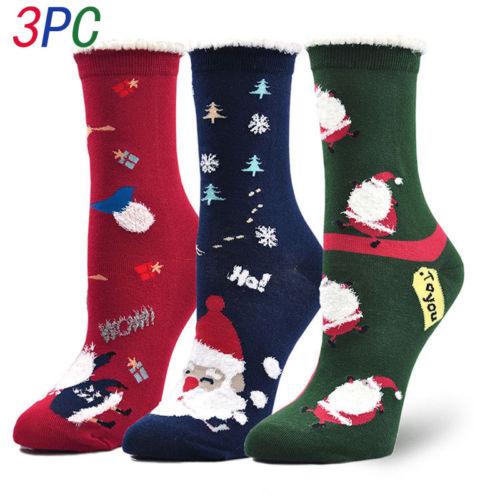 Ladies Womens Novelty Christmas Socks Xmas Winter Gift Cotton Rich 3Pairs/Set