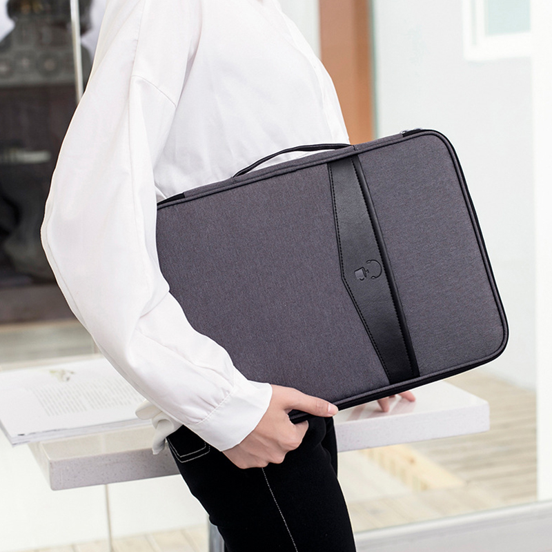 Multi-functional A4 Document Bags Portable Waterproof Men's Briefcases <font><b>Laptop</b></font> Notebook Pouch Travel Passport Holder Accessories image