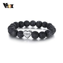 Vnox 10mm Black Lava Beaded Bracelets for Women Stainless Steel Friend Charm Link Chain Retro Bracelet Size Adjustable(China)