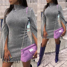 Women Sexy Sequin High Neck Slit Sleeve Bodycon Dress Party Glittering Clubwear Dresses(China)