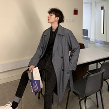 2019 Korean men's casual trend spring long trench coat manteau homme hiver Fashi