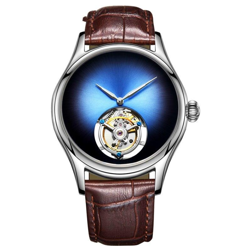 Personalizado Relógio Mecânico Relógio Marca de Topo dos homens Sapphire Espelho Original Tourbillon Oco Movimento Mecânico Relógio de Forma