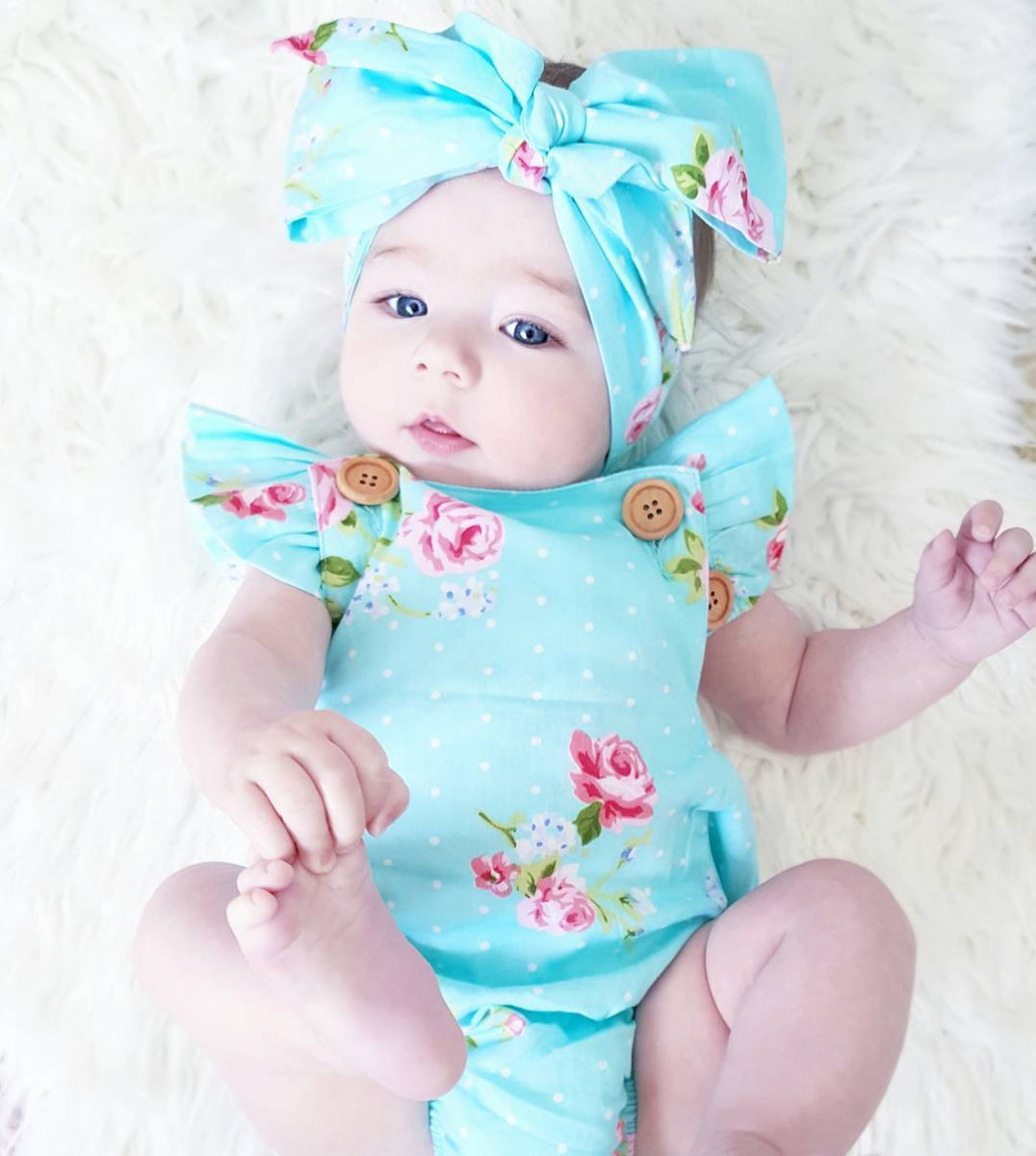 Pudcoco Girl Jumpsuits 0-24M Cute Baby Girls Floral   Romper   One-piece Sunsuit Headband Clothes Set