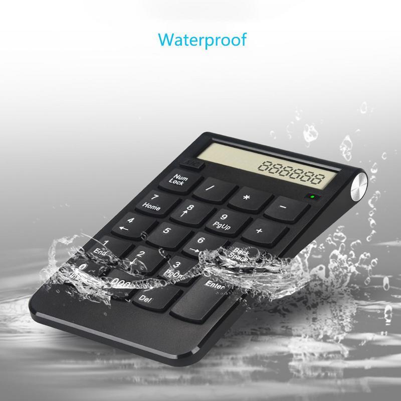 Teclado usb 2.4g, sem fio, numérico, recarregável, tela digital, suprimentos de escritório, contabilidade financeira