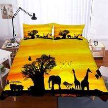 Bộ đồ giường Đặt 3D In Duvet Cover Bed Thiết Hươu Cao Cổ Con Vật Trang Chủ Dệt May cho Người Lớn Sống Động Như Thật Chăn Mền với Gối # CJL16