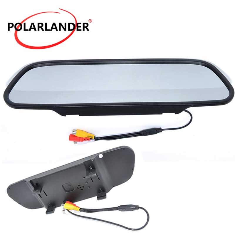 Freeshipping High Resolution DC 12V LCD Display Car Rearview Mirror Monitor 5.0 Inch For DVD Camera VCR
