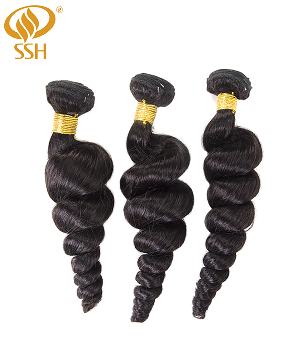 SSH 100% Remy Human Hair Loose Wave Bundles 1/3 PCS 8 28 inch Hair Weave Extensions-in 3/4 Bundles from Hair Extensions & Wigs