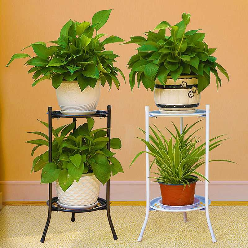 AliExpress & US $11.25 17% OFF|Black/White Metal Floor Two layer Elegant Metal Plant Stand Shelf Flower Pot Rack Holder for Green plant-in Flower Pots \u0026 Planters ...