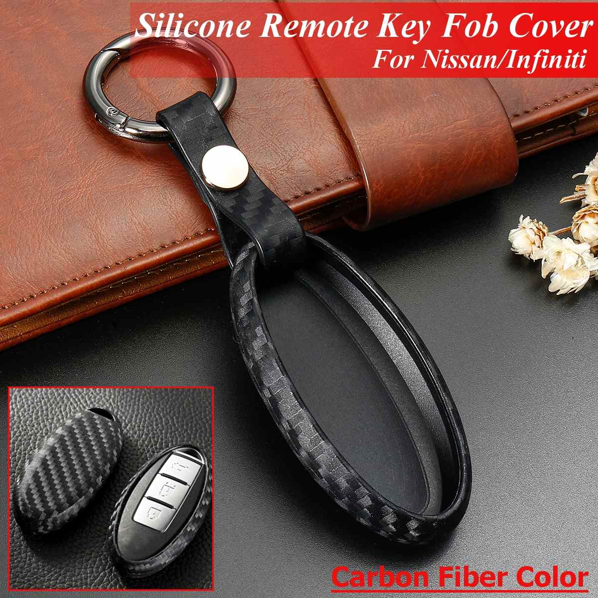 MODIPIM Keyless Entry Remote Case Key Fob Cover Carbon Fiber looks ABS Hard Key Holder Shell With Key Chain Fit Nissan Rogue Altima Maxima Qashqai Sentra 2//3//4//5 Button